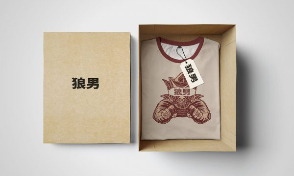 Empty isolated box and white tshirt with label